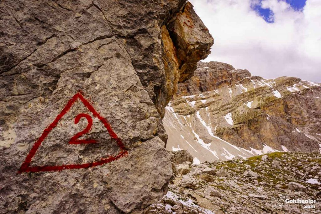 Dolomites Alta Via 2 Trail Sign - 2 in a Red Triangle