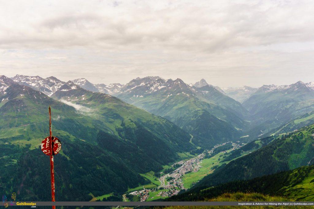 St. Anton am Arlberg in the valley below